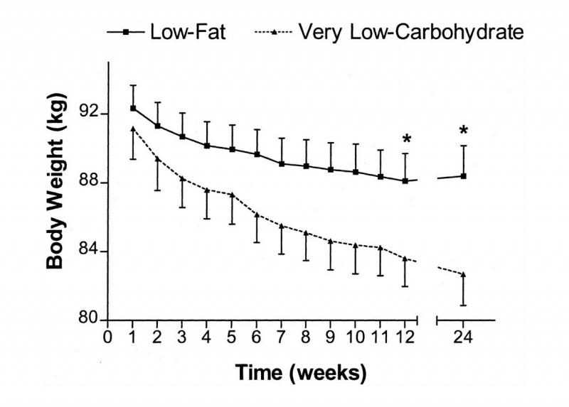 Chú thích ảnh: Đây là một biểu đồ từ một nghiên cứu so sánh các chế độ ăn ít carb và chất béo thấp ở phụ nữ thừa cân / béo phì