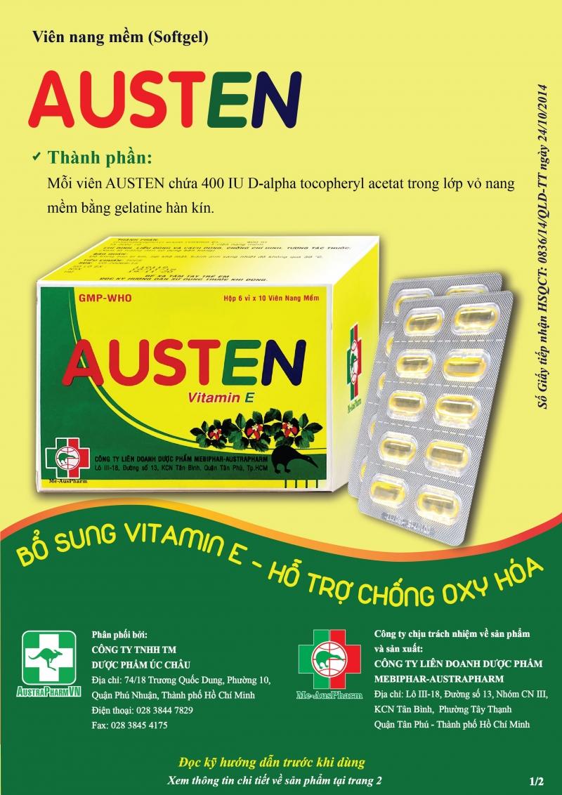 AUSTEN (Viên nang mềm) Bổ sung Vitamin E thiên nhiên - Hỗ trợ chống oxy hóa